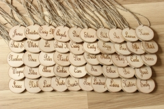 Personalized wooden name tags