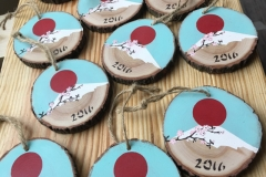 decorated wooden tags